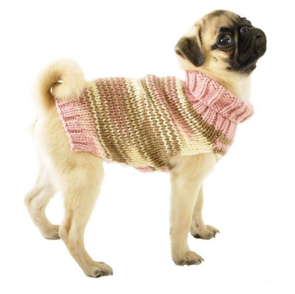 Knitted Dog Sweater Sizes XXS to Large in Pink, Brown & Ivory - Luxurious Paws