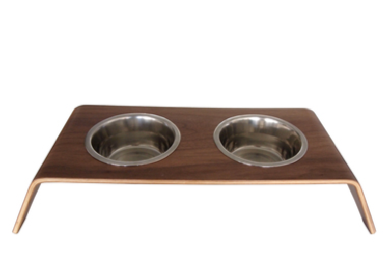 Walnut Elevated Pet Feeder-Double - Luxurious Paws