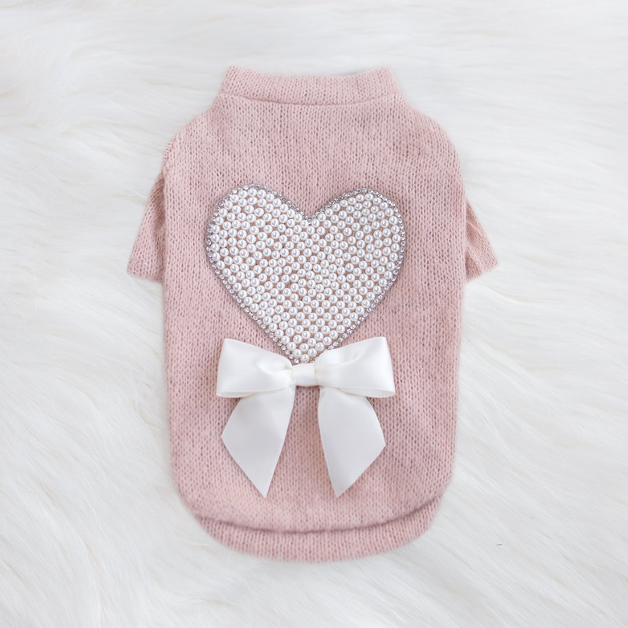 Pearl Heart Dog Sweater - Luxurious Paws