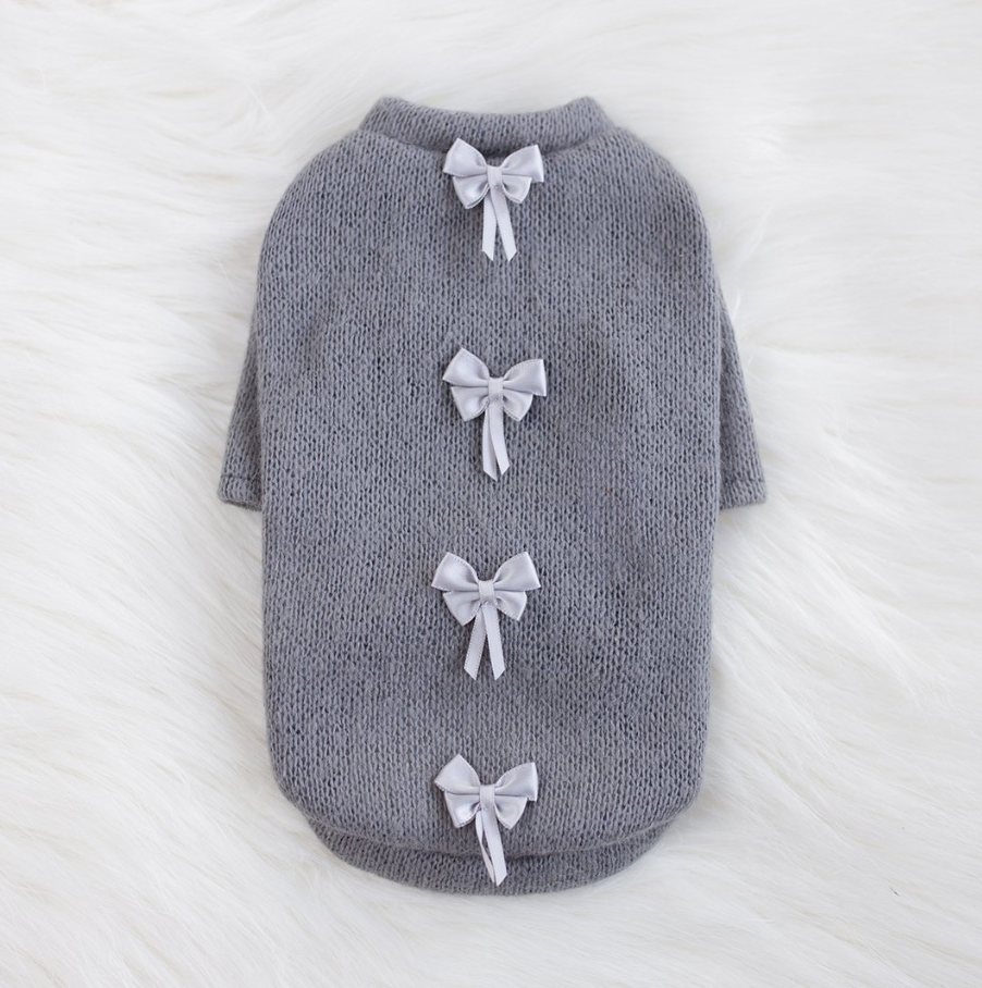 Dainty Bow Dog Sweater - Luxurious Paws