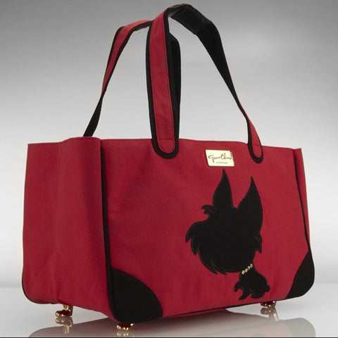 I Love New Yorkie Canvas Rescue Me Tote Red