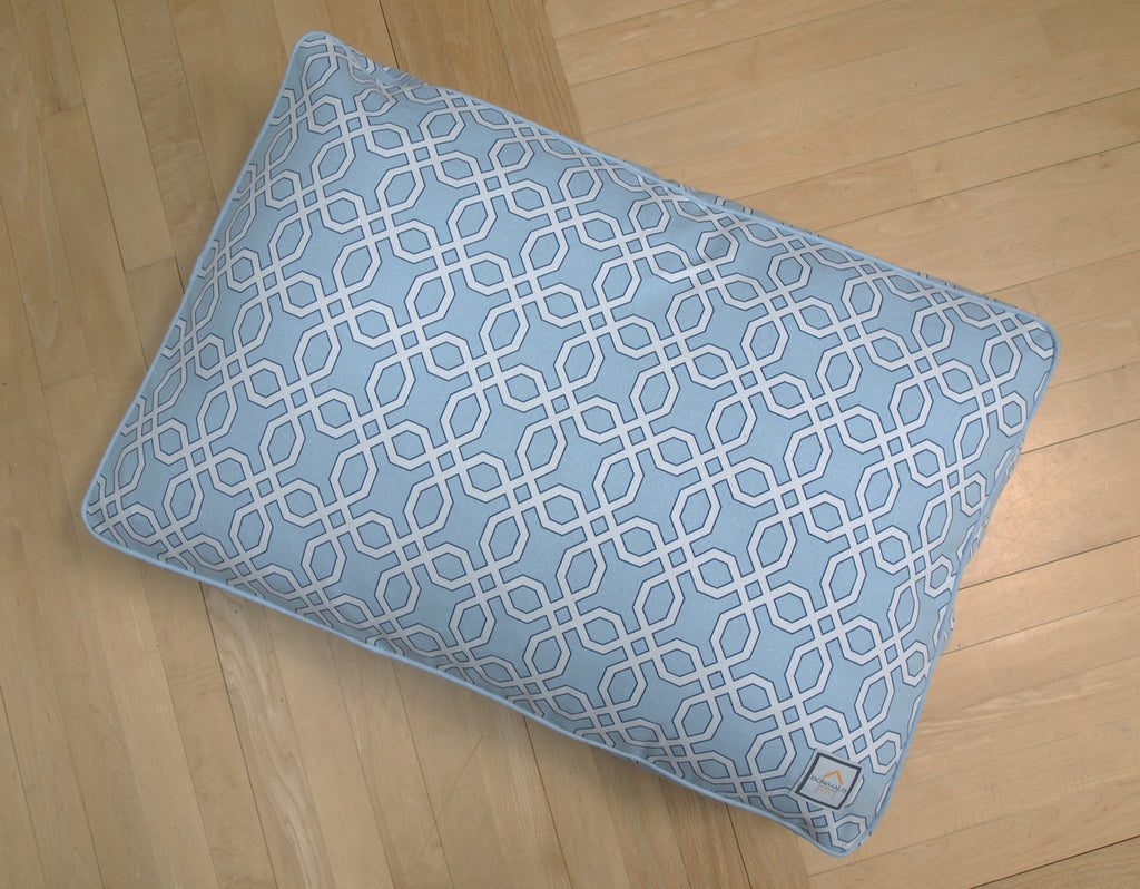 Matching Bed Moroccan Trellis Blue - Luxurious Paws