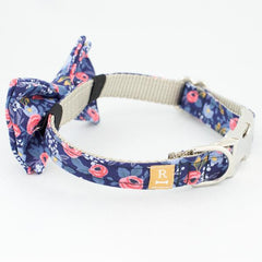 Rosa Navy Collar - Luxurious Paws