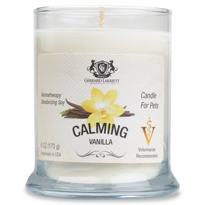 Calming Vanilla Aromatherapy Deodorizing Soy Candle For Pets