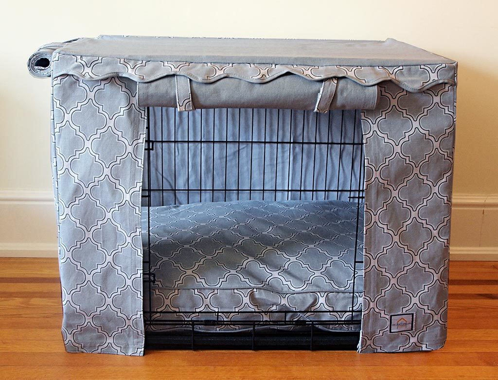 Grey Casablanca Crate Cover - Luxurious Paws