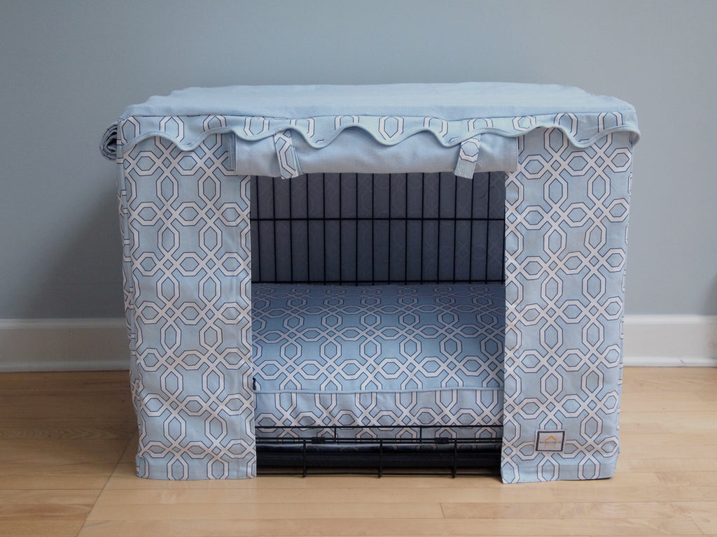 Blue Moroccan Trellis Crate Cover - Luxurious Paws
