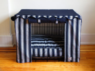 Blue Navy Nautical Crate Cover - Luxurious Paws