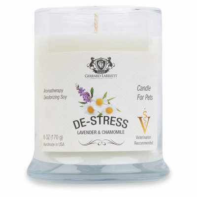 De-stress Lavender & Chamomile Aromatherapy Deodorizing Soy Candle For Pets