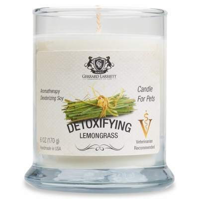 Detoxifying Lemongrass Aromatherapy Deodorizing Soy Candle For Pets - Luxurious Paws