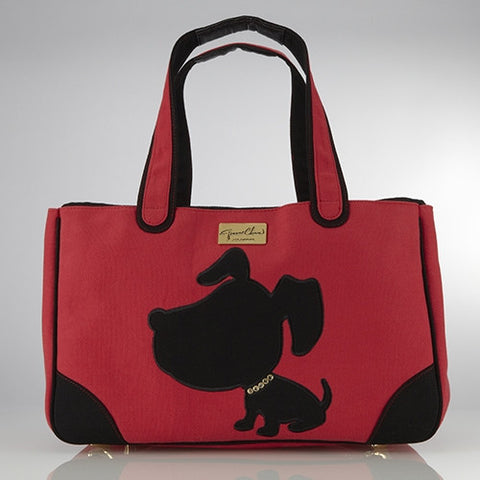 Doggie Style Canvas Rescue Me tote Red