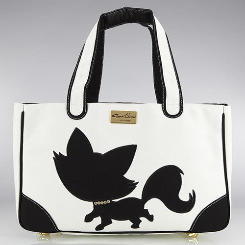 Foxy Pom Canvas Rescue Me tote White - Luxurious Paws