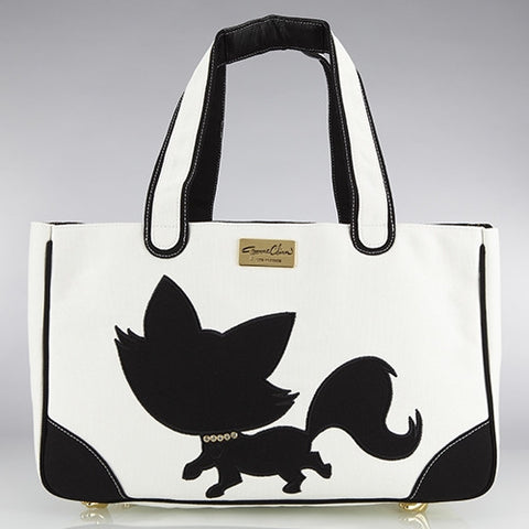 Foxy Pom Canvas Rescue Me tote White