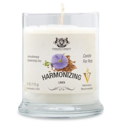 Harmonizing Linen Aromatherapy Deodorizing Soy Candle For Pets - Luxurious Paws