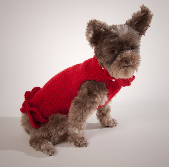 Red Pullover Dog Sweater Dress with Pearls - Luxurious Paws