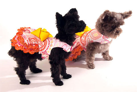 Paisley Dog Dress with Yellow Bow and Orange Ruffles
