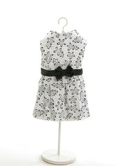 White Dog Dress with Black Flowers - Luxurious Paws