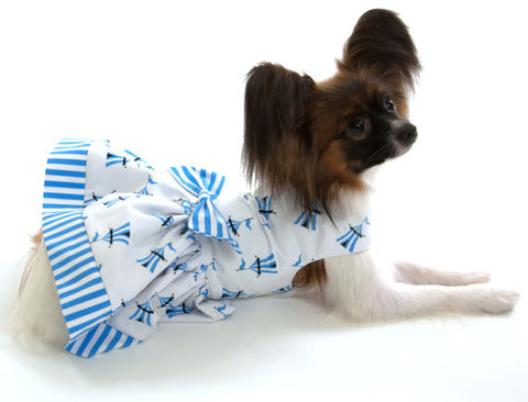Blue and White Dog Dress with Bow