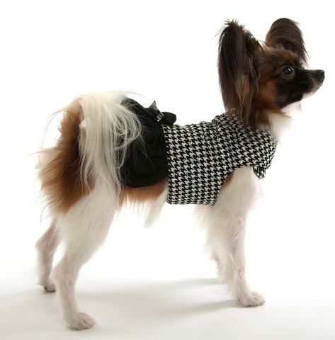 Houndstooth Dog Jacket Coat with skirt