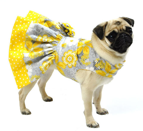 Yellow and Gray Dog Flowery Dress
