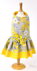 Yellow and Gray Dot Flowery Dress - Luxurious Paws