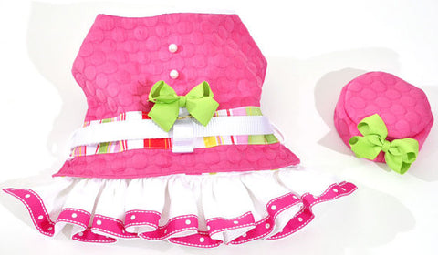 Pink and White Dog Harness Dress