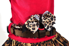 Red Corduroy and Fur Dog Harness Dress - Luxurious Paws