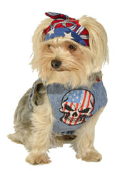Denim Dog Harness with Skull - Luxurious Paws