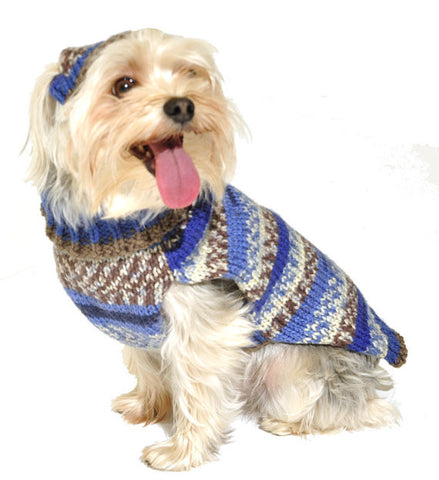 Dog Sweater with Knit Blue Hat