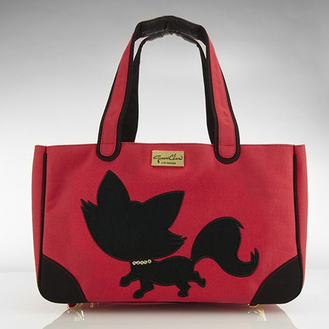 Foxy Pom Canvas Rescue Me tote Red