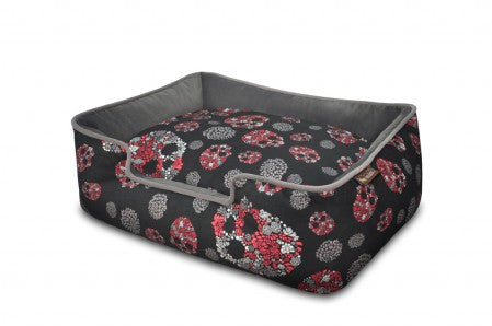 Skulls & Roses Dog Bed - Luxurious Paws