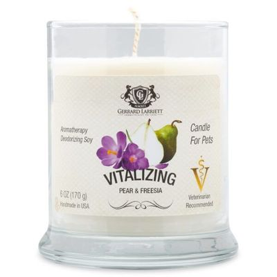 Vitalizing Pear & Freesia Aromatherapy Deodorizing Soy Candle For Pets