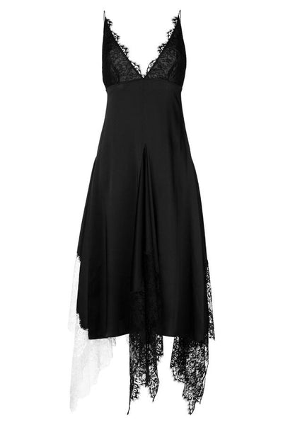 Christopher Kane Lace Trim Deep V Cami Dress - Black
