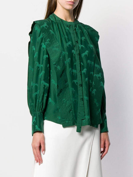 Stella McCartney Horses Jacquard Blouse - Leaf Green