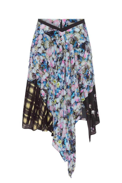 Preen Line Agatha Skirt - Blue Abstract Flower/ Plaid