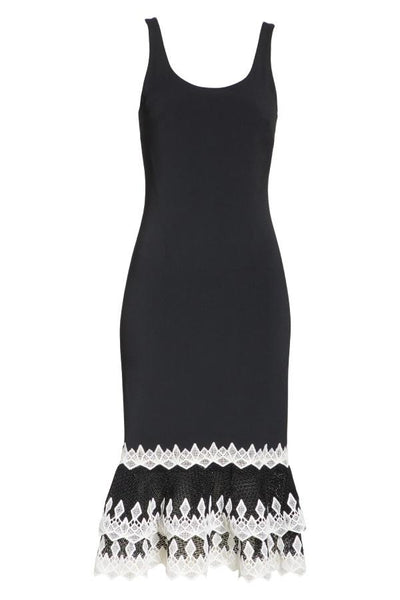 Jonathan Simkhai Diamond Crepe Applique Dress - Black/ White