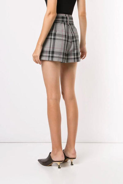 3.1 Phillip Lim Plaid Belted High Waisted Shorts - White/ Navy/ Hot Pink