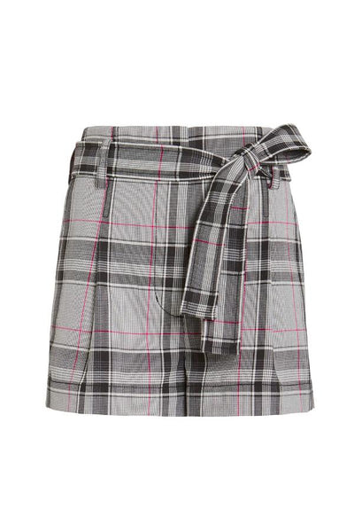 3.1 Phillip Lim Plaid Belted High Waisted Shorts - White/ Navy/ Hot Pink (3755469176885)