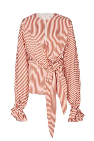 Jonathan Simkhai Stripe Twist Wrap Blouse - Dusk/ White