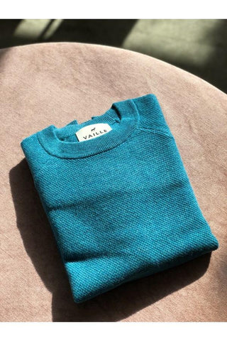 Vaille Cashmere Crew Neck Knit - Teal