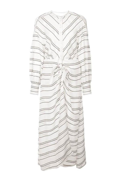 Proenza Schouler Long Sleeve Stripe Crepe Dress - White - SIZE 6 (1501393584181)