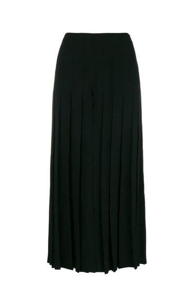 Sonia Rykiel Satin Back Crepe Pleated Wide Leg Pant - Black