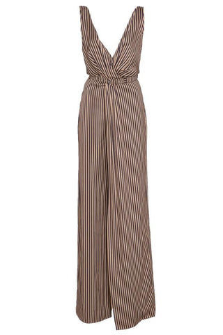 Jonathan Simkhai Stripe Twist V Neck Jumpsuit - Midnight/ Khaki