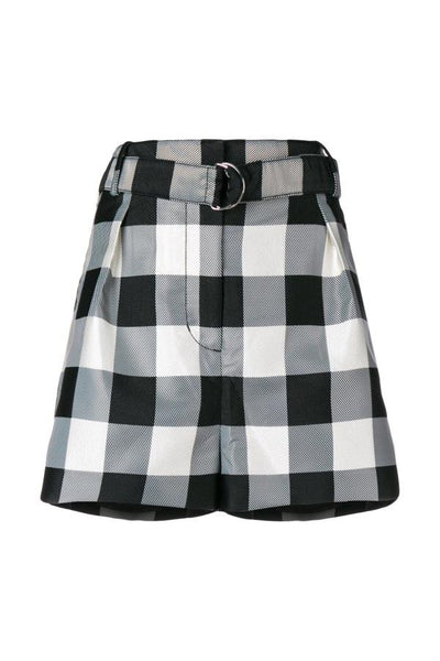 3.1 Phillip Lim Gingham Belted Military Shorts - Black/Sand