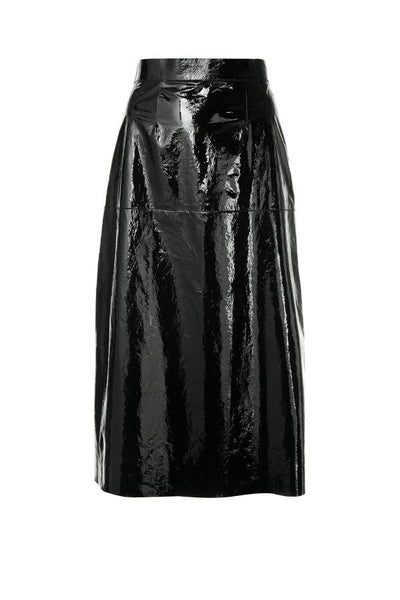 Ines Marechal Daisy Patent Paper Leather Midi Skirt - Noir