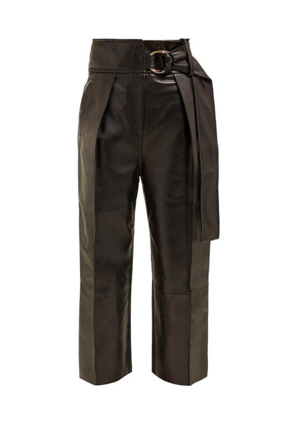 Petar Petrov Haena Wide Leg Leather Pants - Black - SIZE 38 (1560719130677)