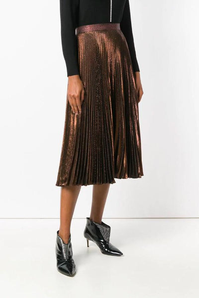 Christopher Kane DNA Lamé Pleated Skirt - Copper