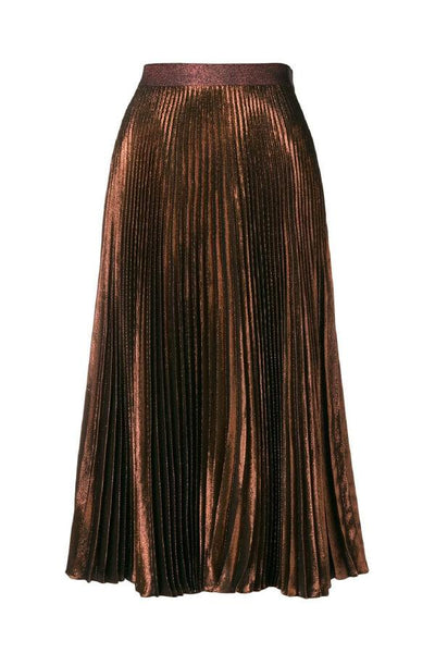 Christopher Kane DNA Lamé Pleated Skirt - Copper - Last One (1483803689013)