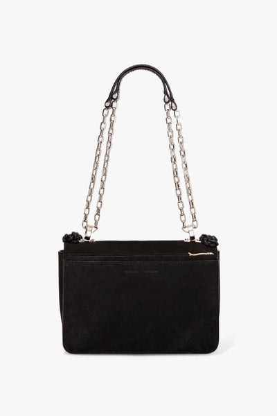 Proenza Schouler Hava Chain Shoulder Bag Light Suede & Crochet - Black