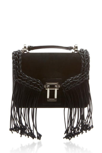 Proenza Schouler Hava Chain Shoulder Bag Light Suede & Crochet - Black (1410233008181)