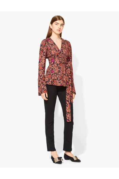 Proenza Schouler Long Sleeve Printed Wrap Top - Black/ Nude/ Fuchsia